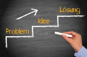 Problem, Idee, Lösung, die Problemlösung, Konzept mit Treppe und Pfeil auf Kreidetafel mit Hand