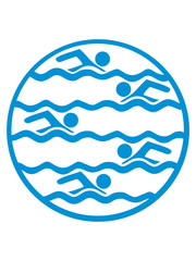 schwimmen kreis rund logo muster bahnen wasser meer urlaub ferien wellen cool design piktogramm baden schwimmbad sport spaß tauchen hallenbad clipart schwimmer