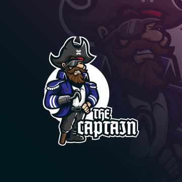 captain pirates mascot logo design vector with modern illustration concept style for badge, emblem and t shirt printing. smiling  pirates captain illustration.