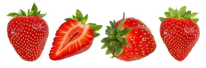 Fresh strawberry isolated on white background with clipping path Fotobehang
