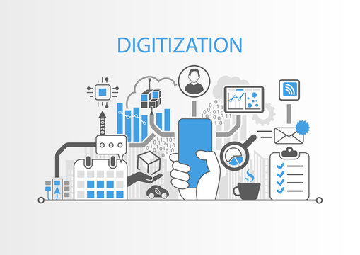Digitization concept with hand holding modern bezel free smart phone