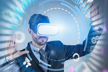 Man in vr glasses using business interface