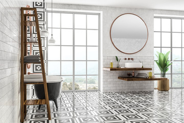 White brick bathroom, tub and sink