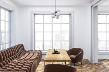 White living room interior, brown sofa