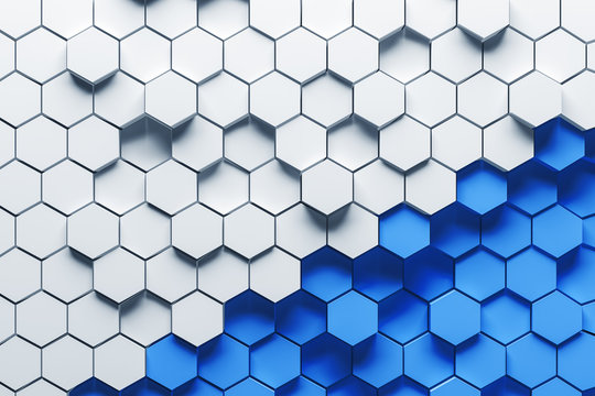 White and blue hexagons background
