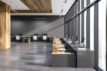 Gray and wooden panoramic office