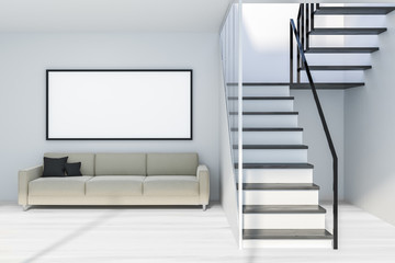 White living room with stairs and poster