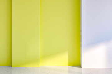 Empty room with yellow and white walls