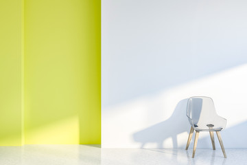 White and yellow living room, chair