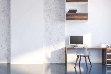 White and concrete home office interior