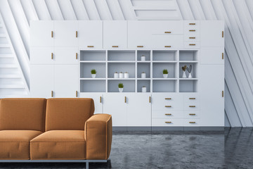 White living room interior with cupboard