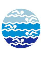 rund kreis muster bahnen schwimmen wasser meer urlaub ferien wellen cool design piktogramm baden schwimmbad sport spaß tauchen hallenbad clipart schwimmer