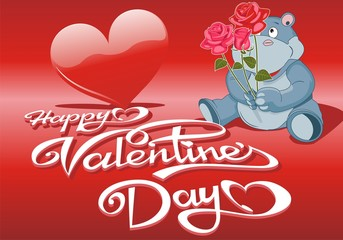 Decorative background Valentines Day with hearts and Hippo with a bouquet of roses