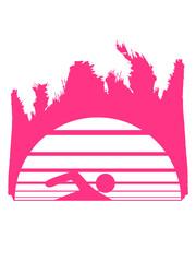meer urlaub palmen insel strand ferien wasser wellen cool logo design piktogramm baden schwimmbad sport spaß tauchen hallenbad clipart schwimmer