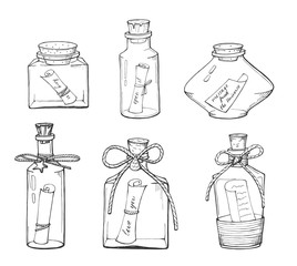 different bottle with a note