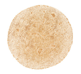 whole grain tortilla isolated