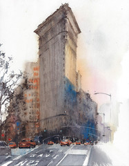 New York City landmark flatiron building travel destination architecture watercolor painting illustration