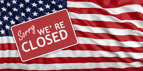 Government shutdown. Sorry we re closed on US flag background. 3d illustration