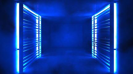 Abstract tunnel, corridor, blue neon, lamps, metal construction. 3D Rendering