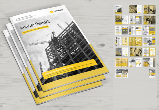 Annual Report Layout with Yellow Accents