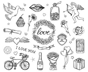 Set of hand drawn sketched icons of love, Saint Valentine's Day, wedding etc. Romantic doodle design elements for greeting cards, banners. Black and white illustration