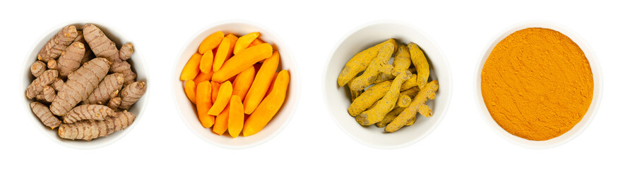 Turmeric in white bowls, over white. Fresh rhizomes, whole and peeled, processed and powder. Curcuma longa, tumeric. Spice for curries, coloring mustard and in medicine. Food photo closeup from above.