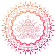 Colorful floral mandala with lotus flower. Ornamental vector. Yoga, india, folk.