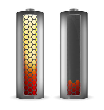 Two grey batteries with hexagons red-yellow indicator of full charge and low charge