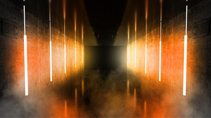 Black tunnel, black gloss, neon lamps hanging from the ceiling, reflected in the walls and floor. Night view of the corridor. Abstract dark hall interior background. 3D Rendering Fotomurales