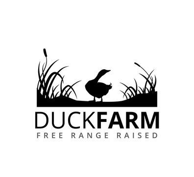 duck or goose with grass savannah vector logo illustration