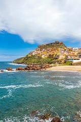 Picturesque view of Medieval town of Castelsardo, province of Sassari, Sardinia, Italy. Popular travel destination. Mediterranean seacoast