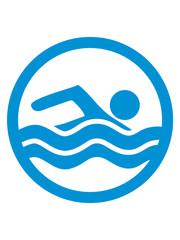 kreis schwimmen liebe symbol urlaub meer ferien wasser wellen cool logo design piktogramm baden schwimmbad sport spaß tauchen hallenbad clipart schwimmer
