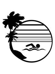 kreis rund wasser meer urlaub palmen insel strand ferien wellen cool logo design piktogramm baden schwimmbad sport spaß tauchen hallenbad clipart schwimmer