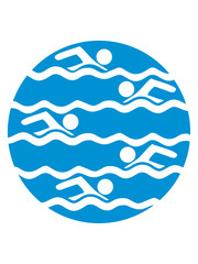 kreis rund muster bahnen schwimmen wasser meer urlaub ferien wellen cool design piktogramm baden schwimmbad sport spaß tauchen hallenbad clipart schwimmer