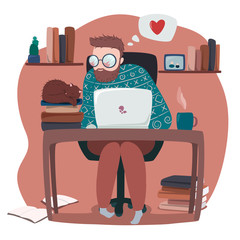 vector illustration of human working on laptop, with sleeping cat on the books