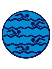 kreis rund logo muster bahnen schwimmen wasser meer urlaub ferien wellen cool design piktogramm baden schwimmbad sport spaß tauchen hallenbad clipart schwimmer
