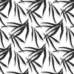 Vector tropical dark palm  leaves with grunge decoration. Exotic paint traces on white background. Banana leaves dynamic black white pattern.