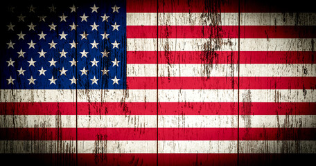 Flag of America with old grunge wooden texture
