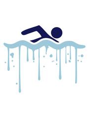 graffiti tropfen nass farbe cool logo design schwimmen piktogramm baden schwimmbad sport spaß wasser wellen tauchen hallenbad clipart schwimmer
