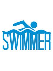 cool swimmer logo design schwimmen piktogramm baden schwimmbad sport spaß wasser wellen tauchen hallenbad clipart schwimmer
