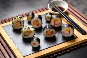Fototapete - Sushi is a delicious specialty of Japanese cuisine.