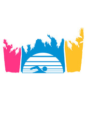 bunt urlaub palmen insel strand meer ferien wasser wellen cool logo design piktogramm baden schwimmbad sport spaß tauchen hallenbad clipart schwimmer