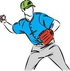 baseball player man vector illustration