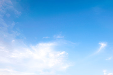 Beautiful white clouds with blue sky.Color shade gradient from white to blue for background wallpaper.;