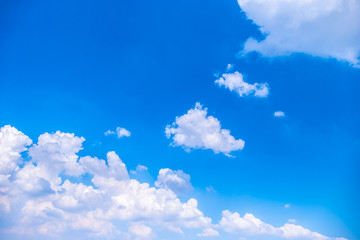 Beautiful white clouds with blue sky.Color shade gradient from white to blue using for fresh background wallpaper.