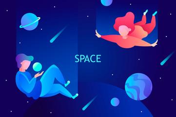 space travel, virtual reality, imagination. vector illustration. modern technologies