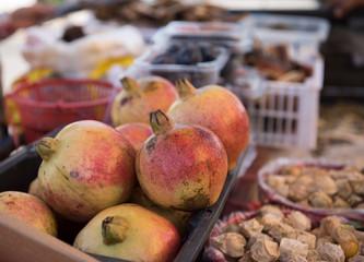 Fresh and full of large pomegranates