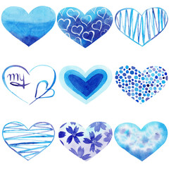 Set of Watercolor hand painted blue hearts. Symbol of love.