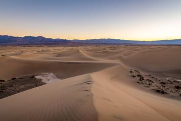 Aluminium Prints Salmon Sunrise over the Mesquite Flat Sand Dunes