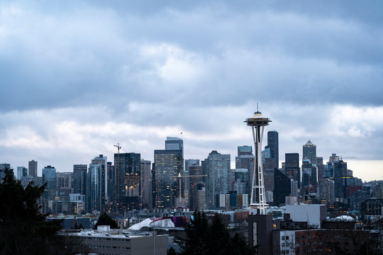 View of Downtown Seattle with dark clouds hovering over